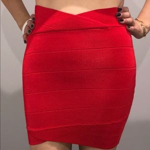 Red bandage mini skirt